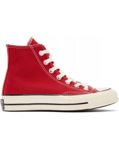 Czarny brezentowy wysoki sneakersy z łatami na sznurowadłach Converse