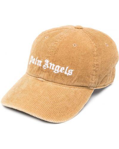 Brązowa czapka z haftem bawełniana Palm Angels