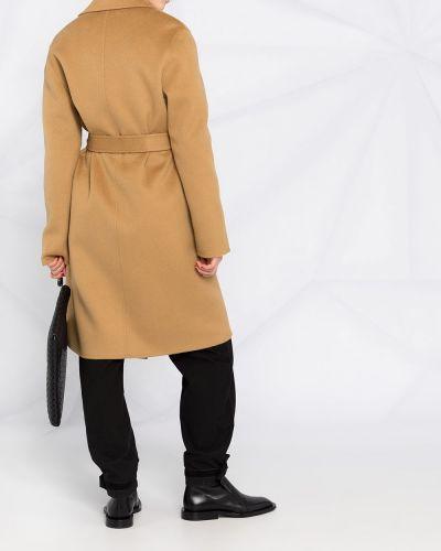 Коричневое кашемировое длинное пальто с карманами Joseph