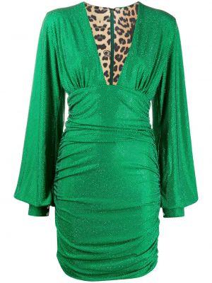 Зеленое платье мини на пуговицах с оборками Philipp Plein