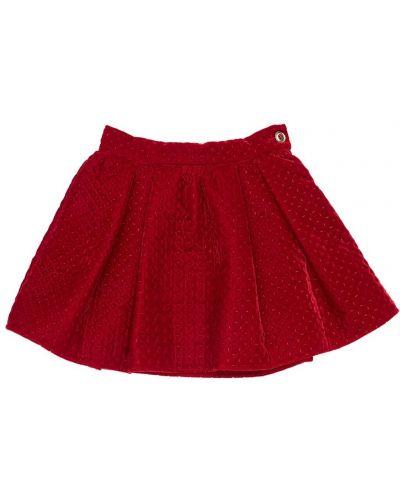 Бархатная красная юбка мини с оборками Mi.mi.sol.