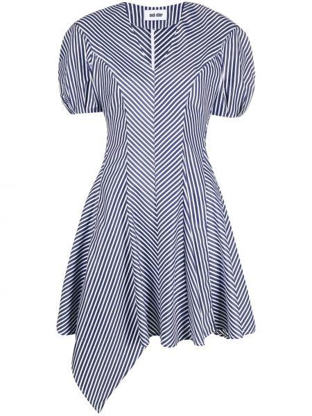 Niebieska sukienka mini rozkloszowana w paski Each X Other