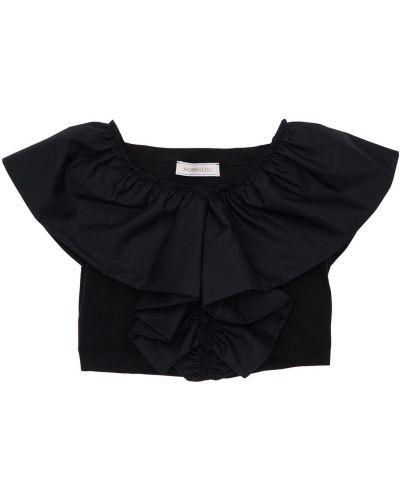 Czarny top bawełniany z haftem Monnalisa