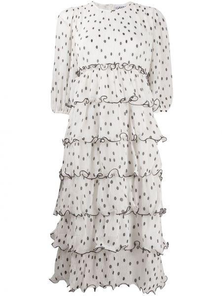 С рукавами белое платье миди в горошек Ganni
