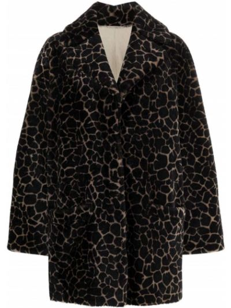 Коричневое пальто с принтом Simonetta Ravizza