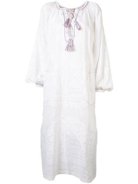 Белое льняное прямое платье миди с длинными рукавами Vita Kin