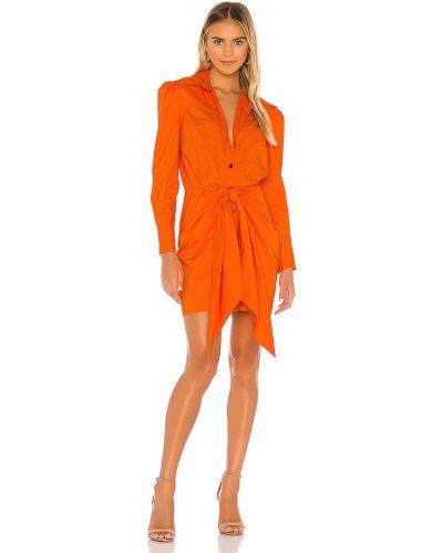 Pomarańczowa sukienka zapinane na guziki bawełniana Petersyn