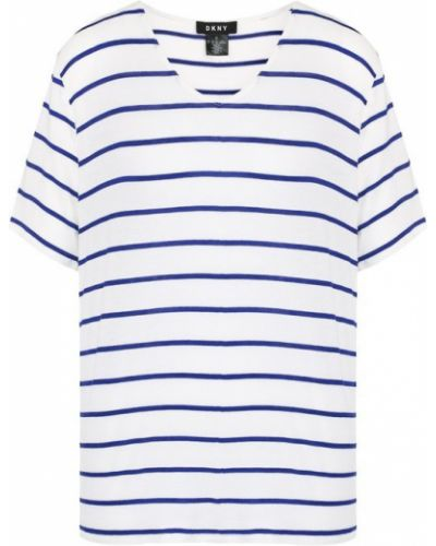 Белая футболка в полоску Dkny