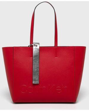 Красная сумка шоппер с камнями Calvin Klein