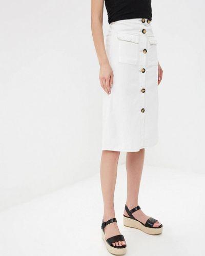Джинсовая юбка широкая белая Lost Ink.