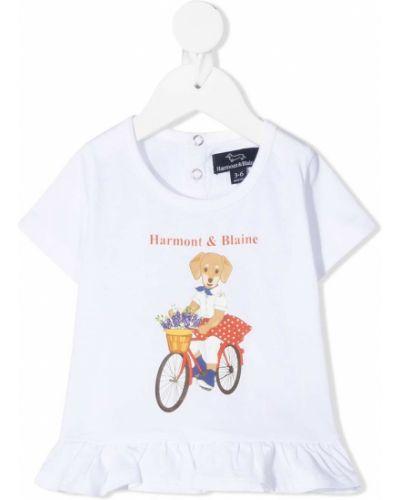 Хлопковая белая футболка круглая с круглым вырезом Harmont & Blaine Junior