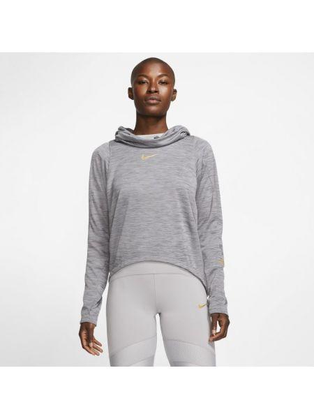 Ze sznurkiem do ściągania szary t-shirt z kapturem z kołnierzem Nike