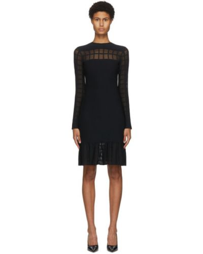 Черное платье мини с длинными рукавами с воротником с манжетами Alexander Mcqueen