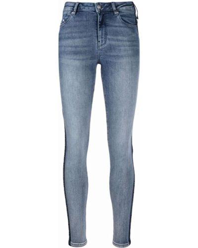 Хлопковые синие джинсы-скинни на молнии Karl Lagerfeld