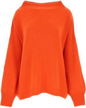 Pomarańczowy sweter wełniany z długimi rękawami Fuzzi