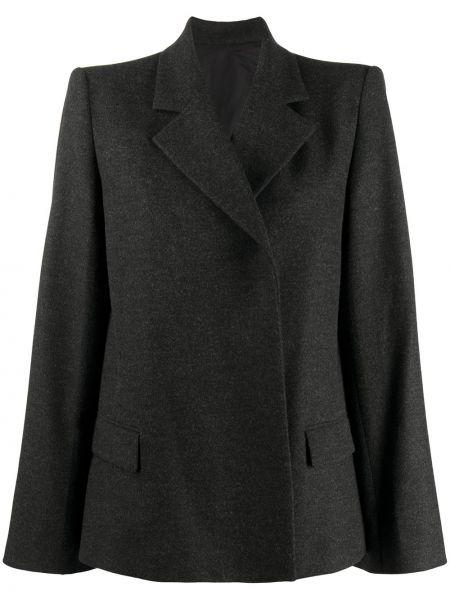 Серый пиджак двубортный с карманами Toteme
