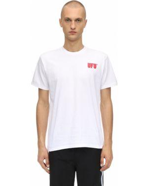 Prążkowany biały t-shirt bawełniany Ufu - Used Future
