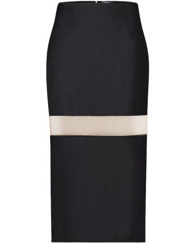 Шерстяная черная юбка карандаш с сеткой сетчатая Mugler