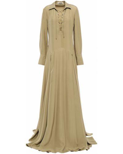 Шелковое платье макси - зеленое Roberto Cavalli