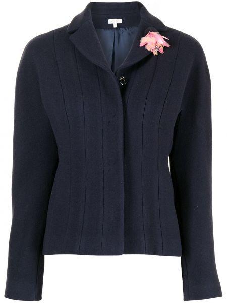 Niebieska długa kurtka wełniana z długimi rękawami Delpozo