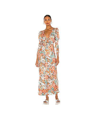 Текстильное платье макси на молнии с оборками с вырезом For Love & Lemons