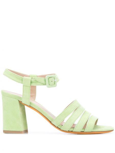 Sandały skórzane na obcasie - zielone Maryam Nassir Zadeh