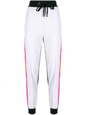 Белые спортивные брюки с завязками с поясом с высокой посадкой No Ka 'oi