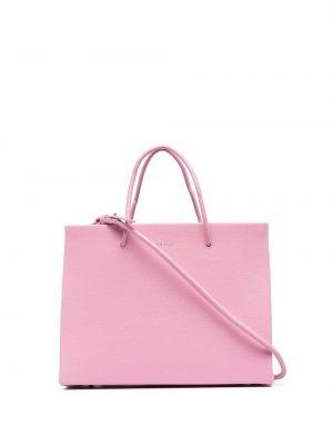 Różowa torba na ramię skórzana Medea