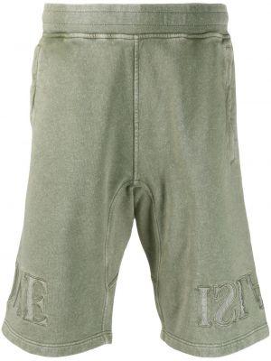 Оливковые короткие шорты с карманами Stone Island