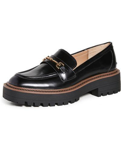 Loafers na obcasie - czarne Sam Edelman