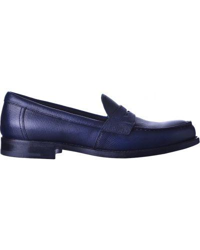 Кожаные лоферы - синие Prada