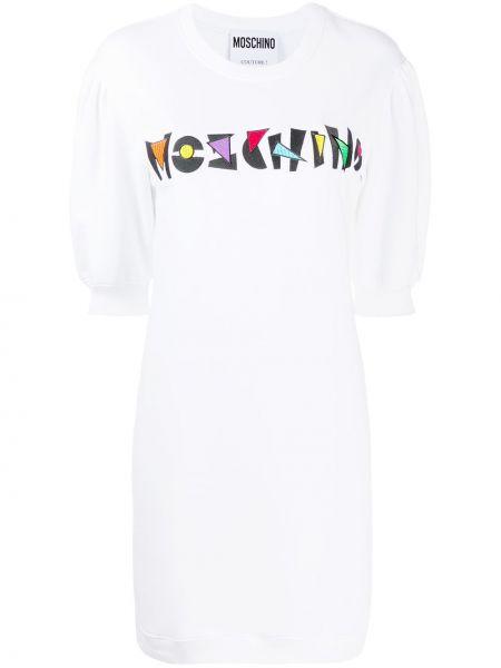 Прямое белое платье мини с вырезом Moschino
