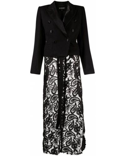 Шерстяной черный классический пиджак двубортный Ann Demeulemeester