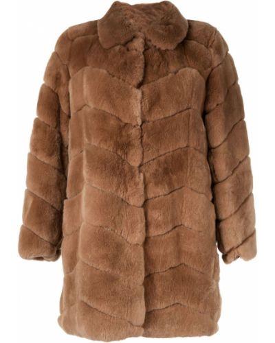 Коралловое однобортное пальто классическое с воротником Yves Salomon Meteo