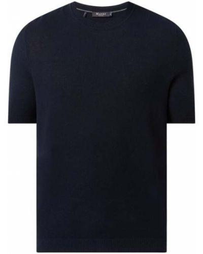 Niebieski sweter bawełniany krótki rękaw Maerz Muenchen