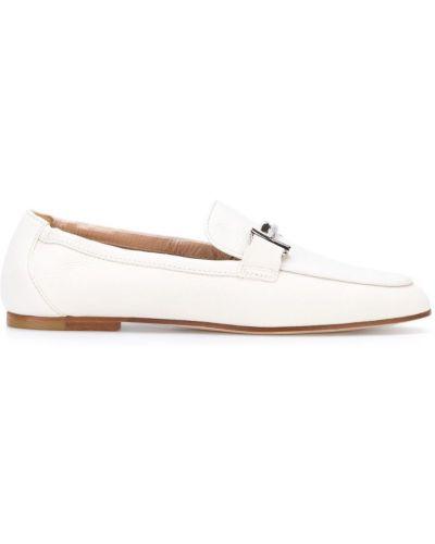 Белые кожаные лоферы Tods