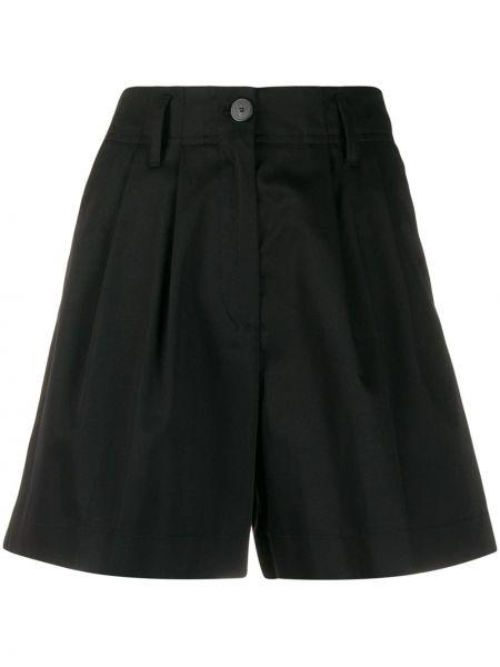 Однобортные черные короткие шорты с карманами Forte Forte
