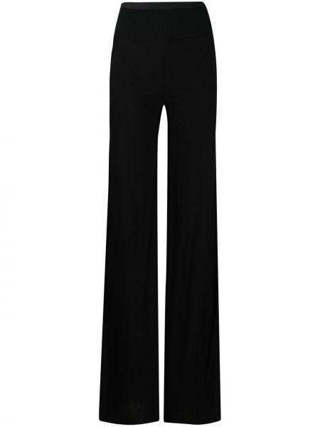 Хлопковые прямые черные брюки Rick Owens Lilies