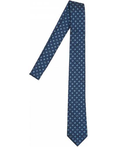 Niebieski krawat z jedwabiu z printem Gucci