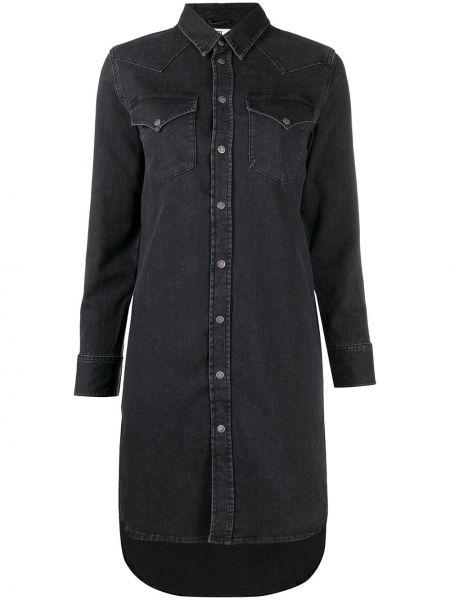 Черное платье макси с длинными рукавами с воротником Diesel