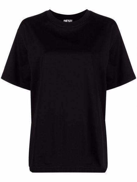 Хлопковая черная футболка оверсайз с вырезом Diesel