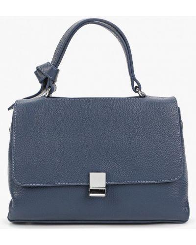 Синяя сумка с ручками из натуральной кожи Basconi