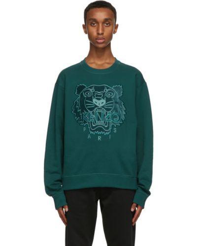 Zielony bluza z mankietami z haftem z długimi rękawami Kenzo