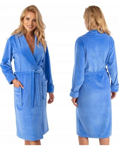 Niebieski szlafrok bawełniany z długimi rękawami Vivisence