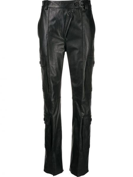 Черные кожаные брюки карго с карманами Kenzo