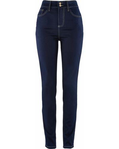 Пляжные джинсы с высокой посадкой с пуш-ап на пуговицах Bonprix