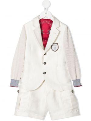 Biały garnitur z jedwabiu z długimi rękawami Brunello Cucinelli Kids