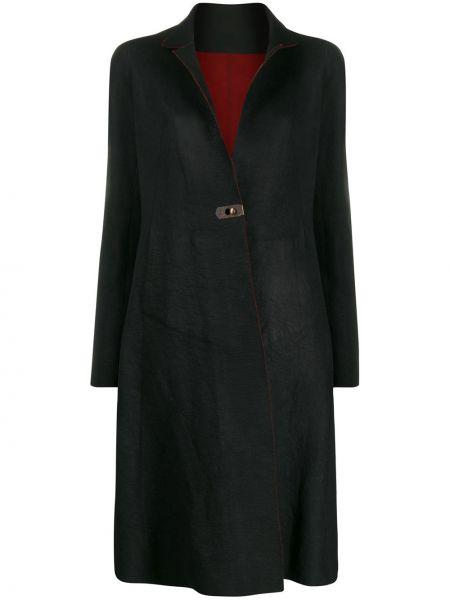 Черное кожаное пальто классическое с воротником Isaac Sellam Experience