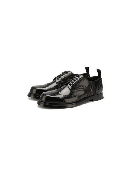 Кожаные дерби на каблуке с подкладкой со вставками Dolce & Gabbana