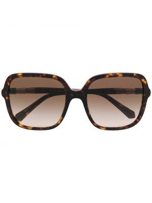 Золотистые коричневые солнцезащитные очки с заклепками Bvlgari